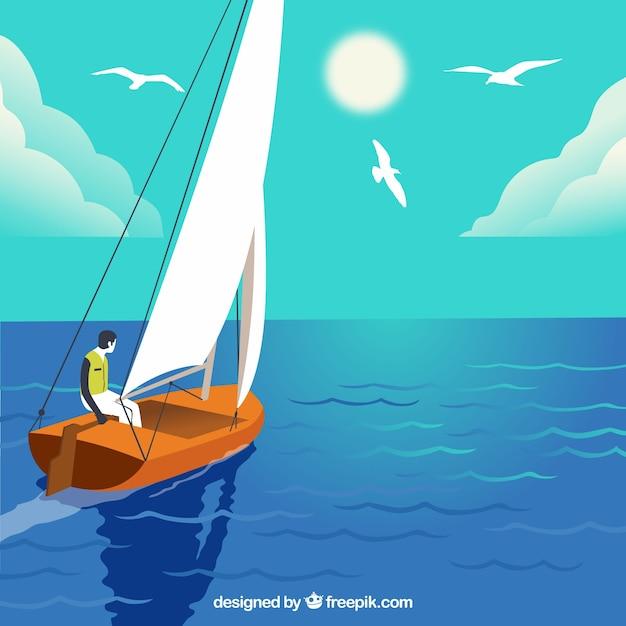 История мальчика, плывущего на его лодке Premium векторы
