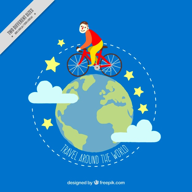 Background of boy with bicycle around the\ world