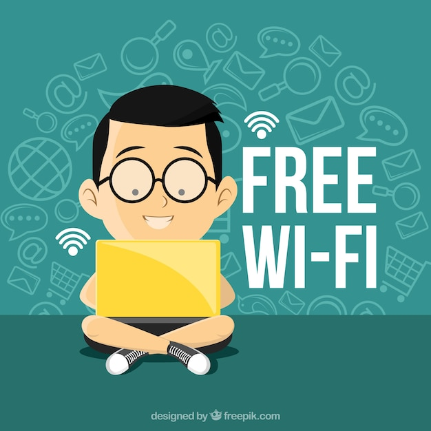 Background of boy with laptop connected to wifi Free Vector