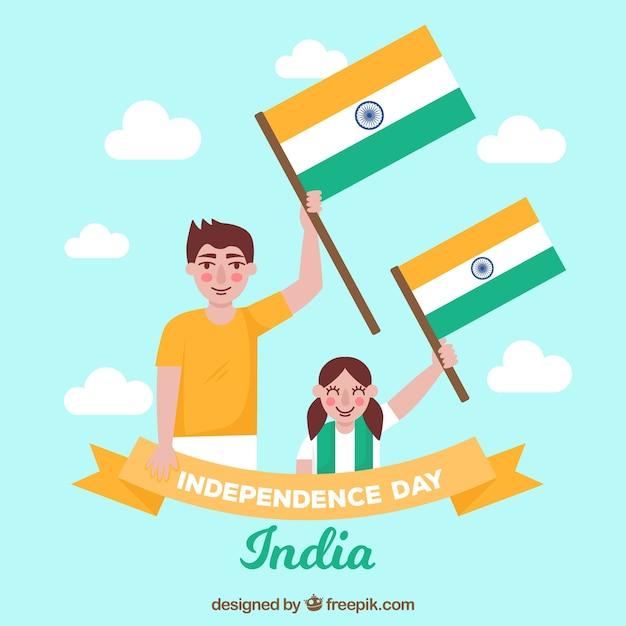 Background of boys with india flag