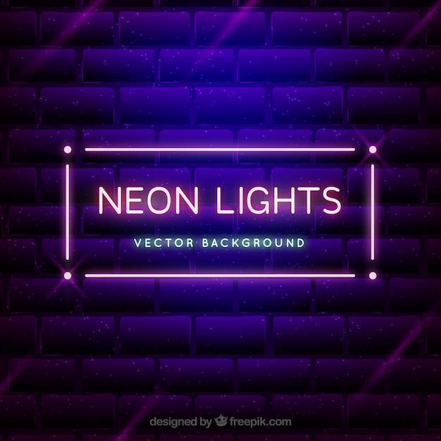 Neon Lights For Wall : Background of brick wall with decorative sign of neon lights Vector Free Download