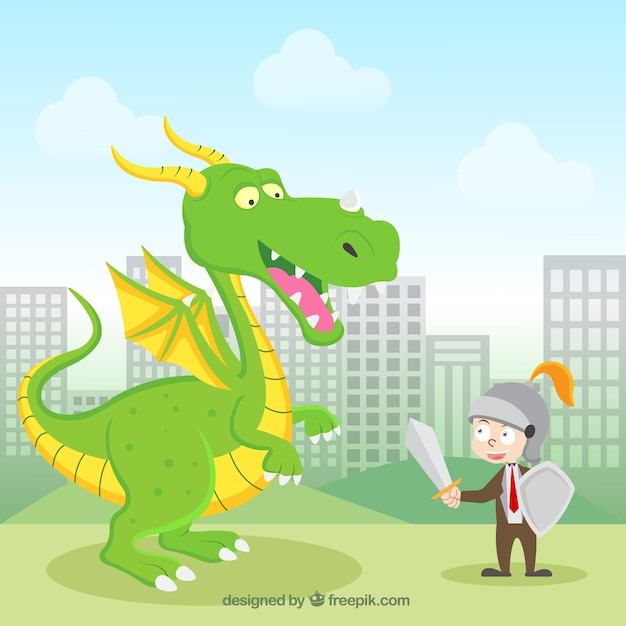 Background of business character fighting with\ a dragon