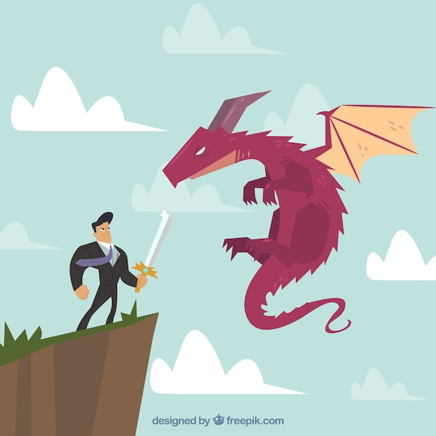 Background of business character fighting with\ dragon