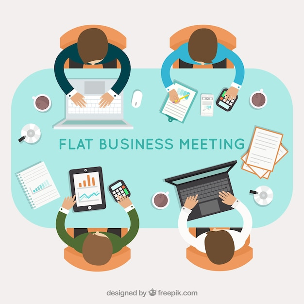 Background of business meeting in flat\ design