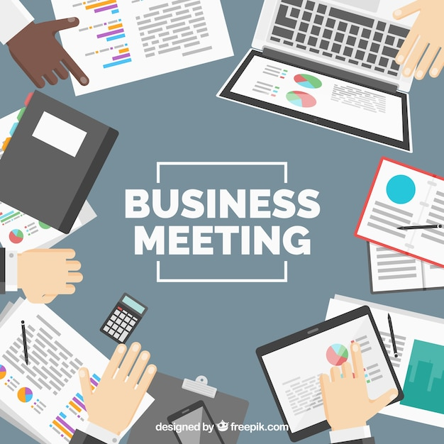 Background of business meeting with papers and\ devices