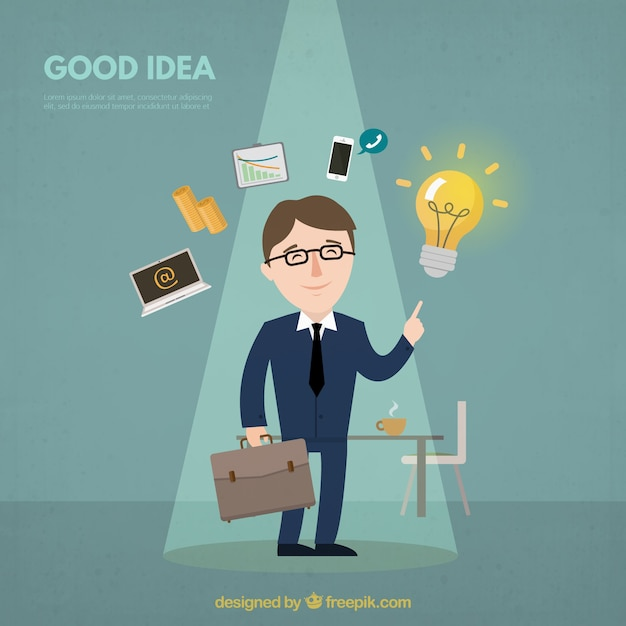 Background of businessman with a good\ idea