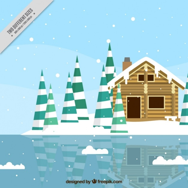 Background of cabin in front of a frozen\ lake