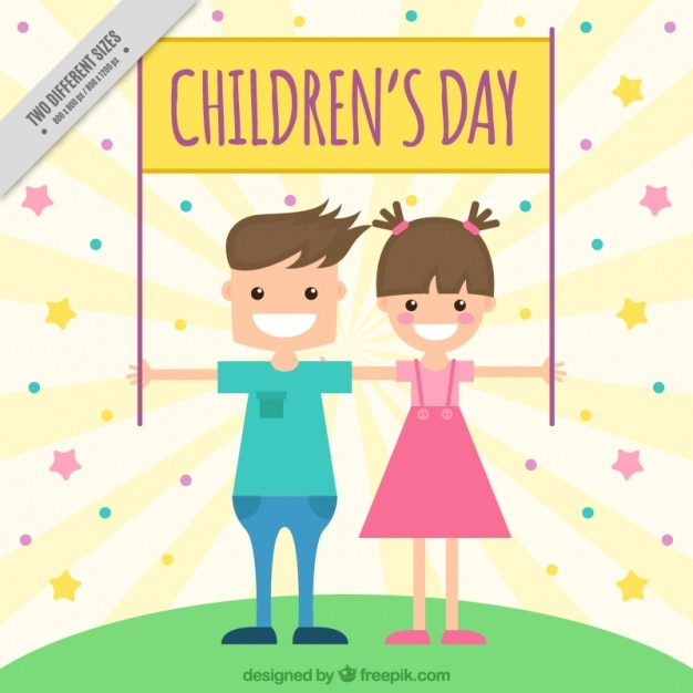 Background of cheerful children holding a\ children\'s day poster