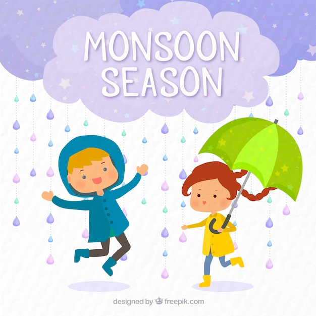 Background Of Children Playing In The Rain Stock Images