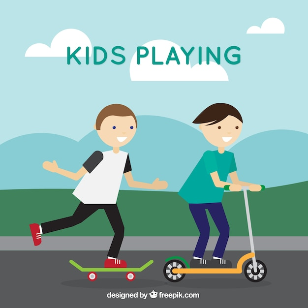 Background of children playing on street with\ skateboard