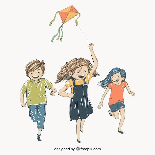 Background of children playing with a\ kite