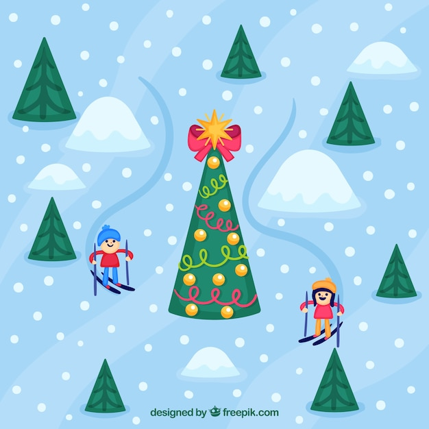 Background of children skiing and christmas\ tree