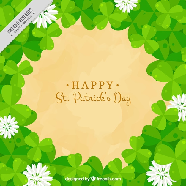 Background of clovers and flowers of saint patrick's day
