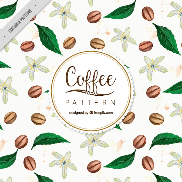Background of coffee beans with watercolor\ leaves