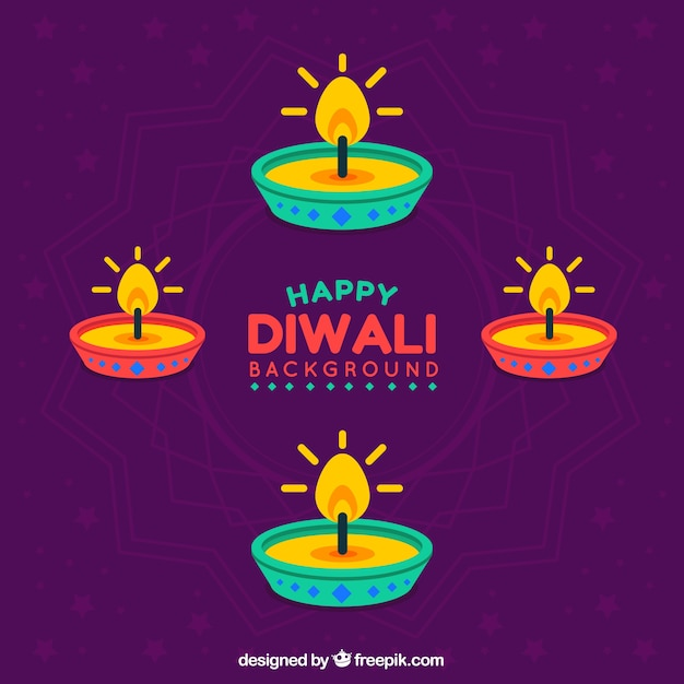 Background of colorful candles of diwali