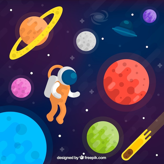 Background of colorful planets and astronaut