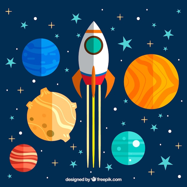 Background of colorful planets and rocket in flat design