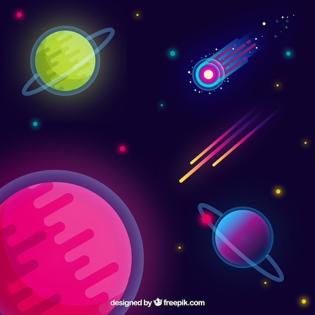 background of colorful planets in flat design vector