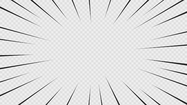 Фон из комиксов действий линий. скорость линии манга кадр, изолированных на прозрачном фоне. Premium векторы