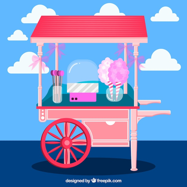 Background of cotton candy cart in flat design