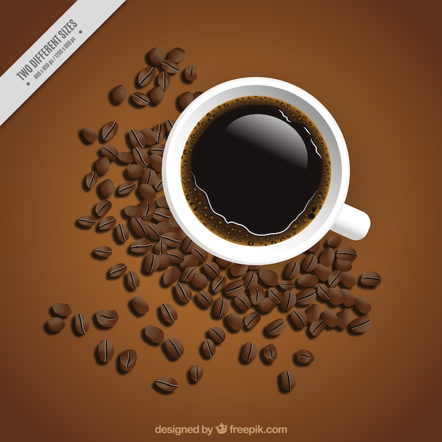 Background of cup and coffee beans