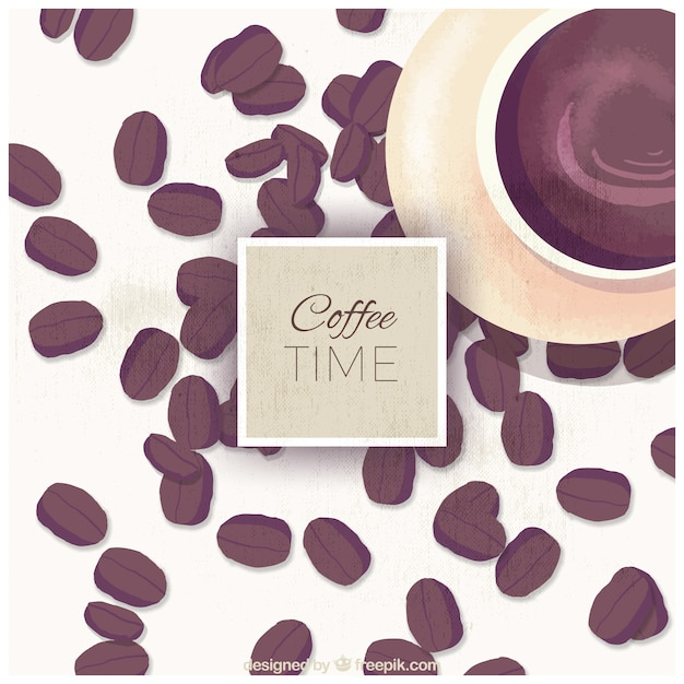 Background of cup and watercolor coffee\ beans