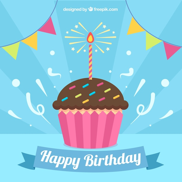 Background of cupcake with birthday candle Free Vector