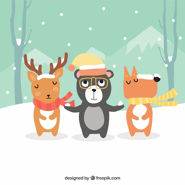 Background of cute animals with hat and scarf\ in a winter landscape