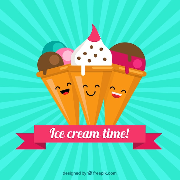 Background Of Cute Ice Cream With Phrase Vector: Background Of Cute Ice Cream Characters Vector