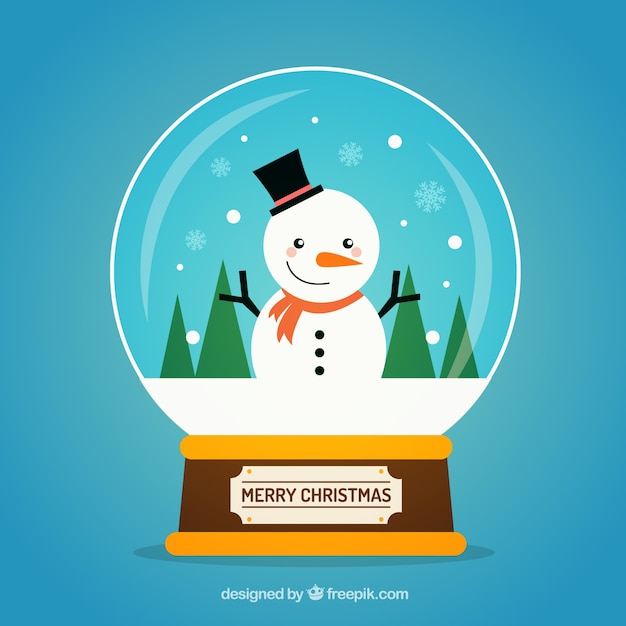 Background of cute snowglobe with nice snowman