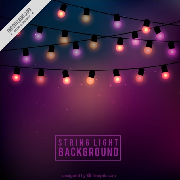 Background of cute string lights Vector Free Download