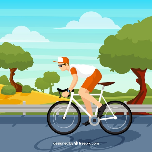 Background of cyclist in a landscape Free Vector