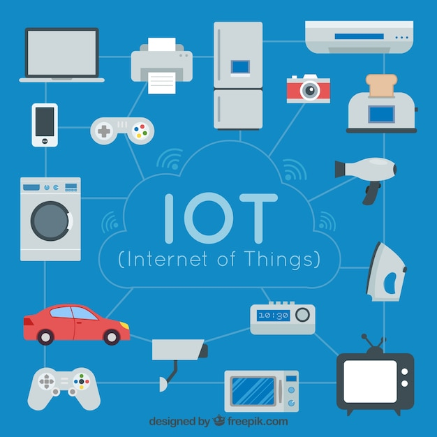 Background of daily objects connected to the internet Free Vector