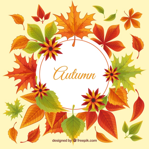Background of decorative autumn leaves