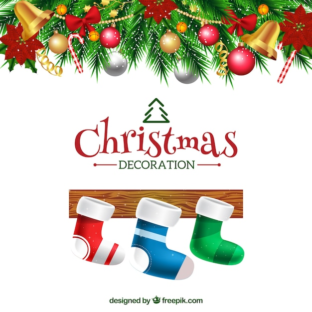 Background of decorative christmas socks Free Vector