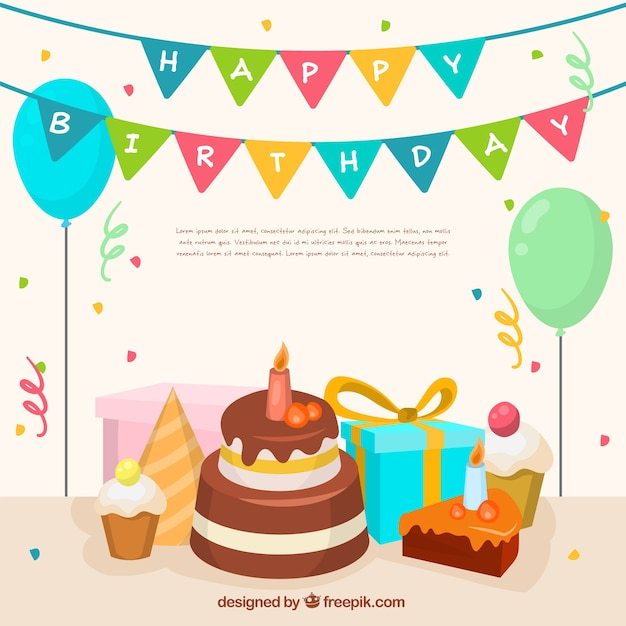 Background of delicious birthday cake and party decoration Vector