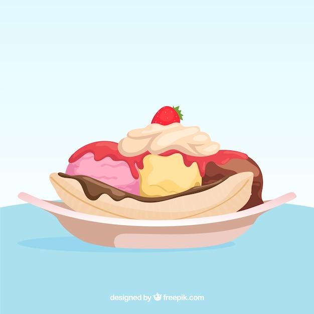 Background of delicious dessert with ice\ cream
