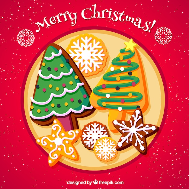 Background of delicious hand-drawn christmas cookies Free Vector