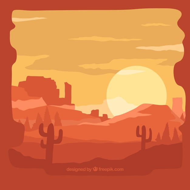 Background of desert at sunset