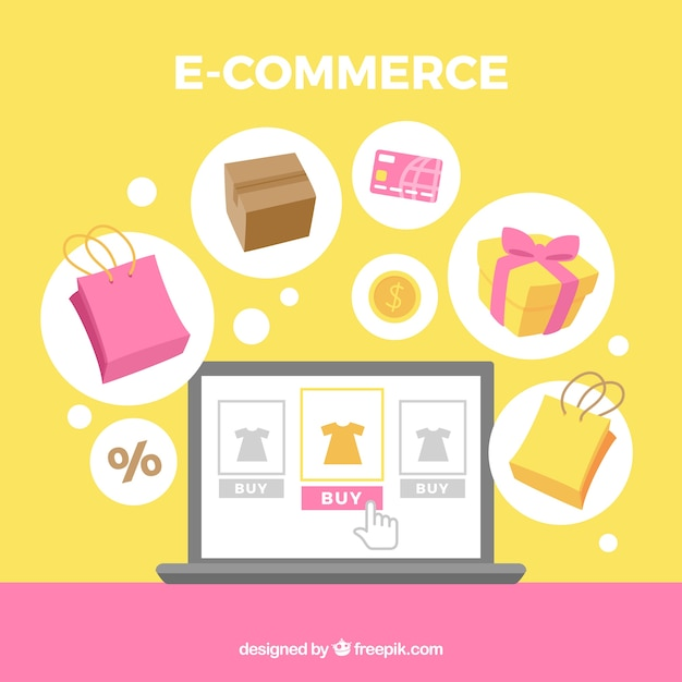 Background of e commerce elements in flat design Free Vector