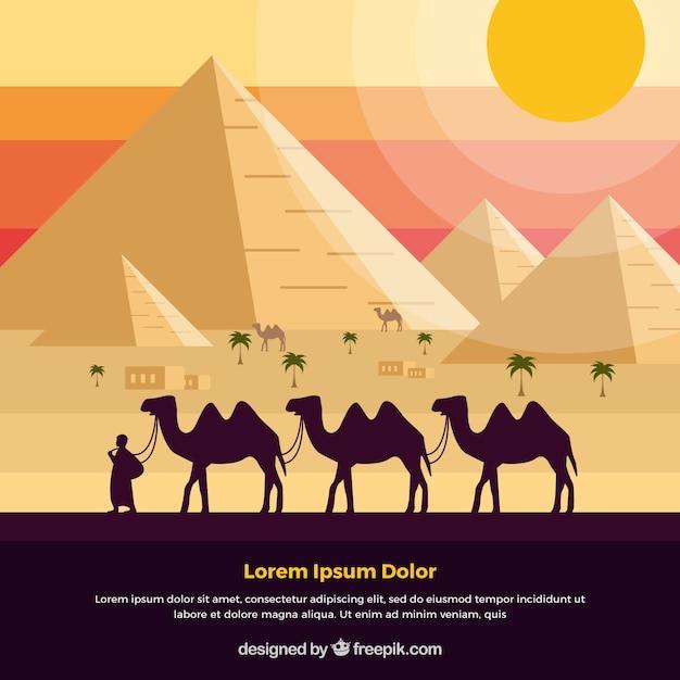 ラクダのキャラバンとエジプトのピラミッドの風景の背景 無料ベクター
