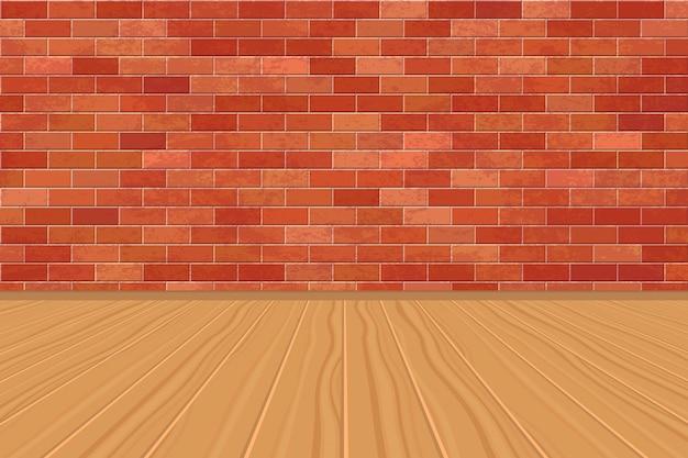 レンガの壁と木製の床と空の部屋の背景 Premiumベクター