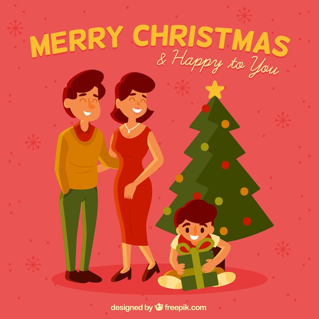 Background of family scene with christmas\ tree