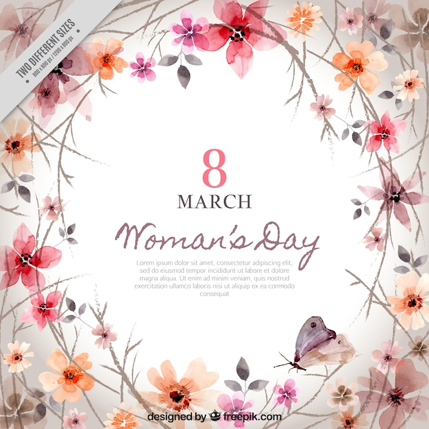 Background of floral decoration of woman's day Free Vector