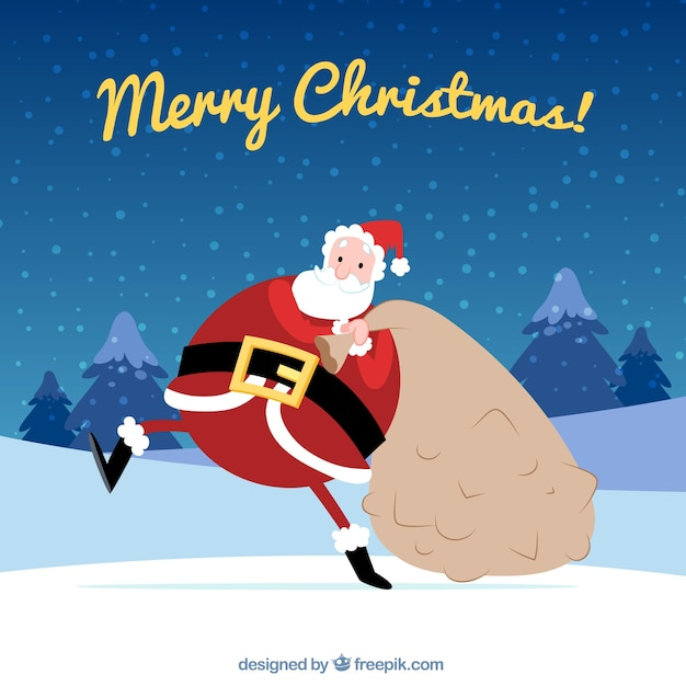 Background of funny santa claus with sack