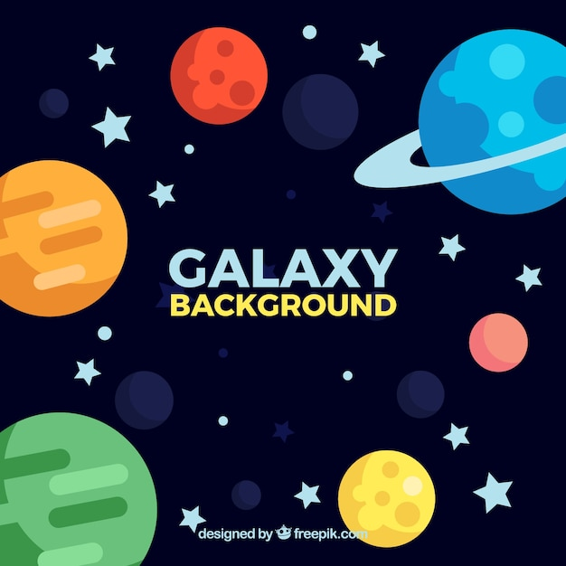 Background of galaxies in flat design