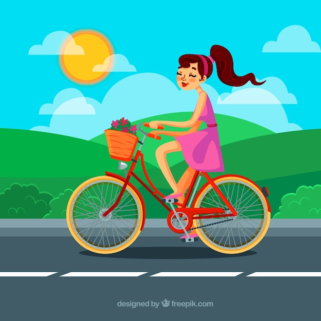 Background of girl on a nice bicycle Free Vector
