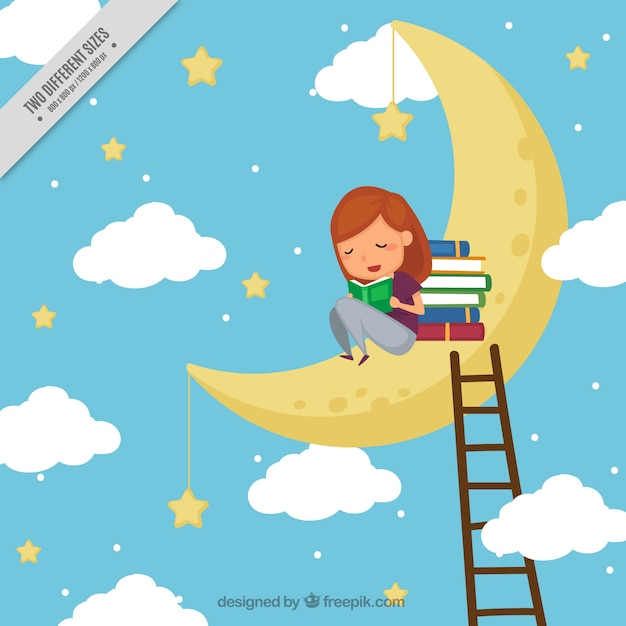 Background of girl reading books on the moon Free Vector