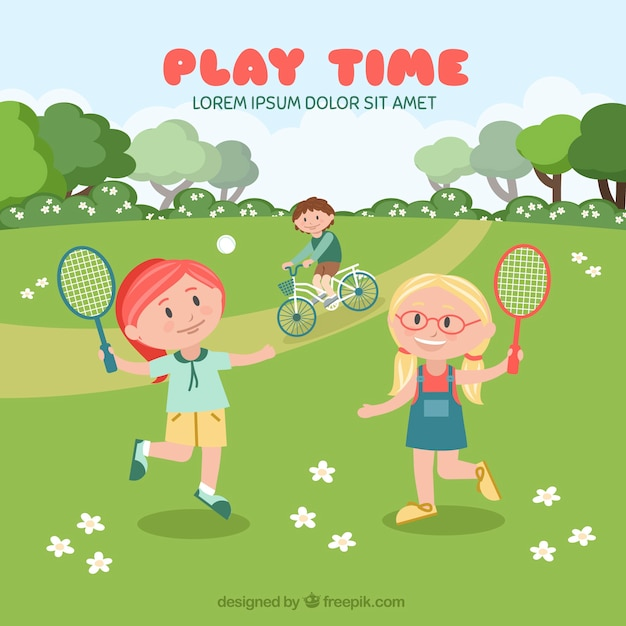 Background of girls playing tennis in the\ field