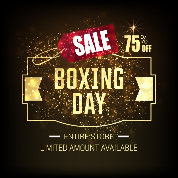 Background of golden boxing day label with\ glitter